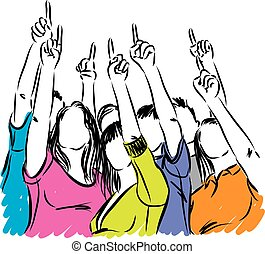 PEOPLE TOGETHER POINTING VECTOR ILLUSTRATION