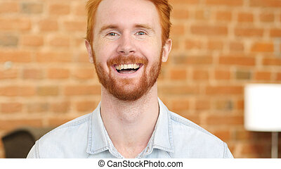 Laughing on Joke, Young Man Portrait