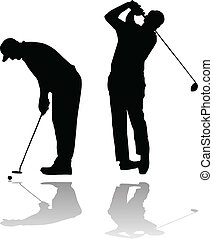 two golf players - silhouettes of two golf players vector