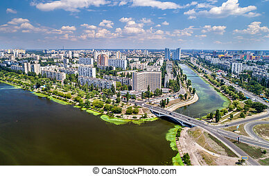 Aerial view of Rusanivka district of Kyiv, Ukraine - Aerial...