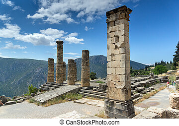 Ancient Columns in Greek archaeological site of Delphi,