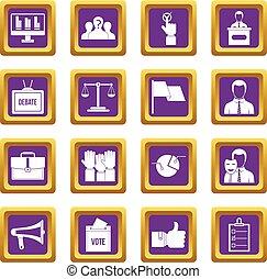 紫色, 投票, 集合, 選舉, 圖象