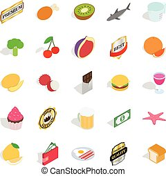 Greengrocery icons set, isometric style - Greengrocery icons...