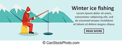 Winter ice fishing banner horizontal concept. Flat...