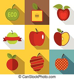 Creative apple icons set, flat style - Creative apple icons...