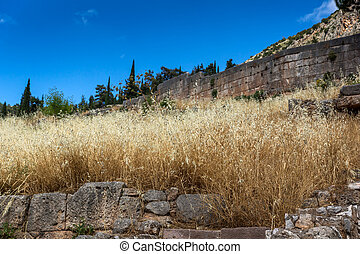 Ruins of Ancient Greek archaeological site of Delphi