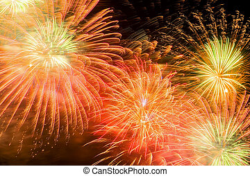 Beautiful firework as golden chrysanthemum, spherical break of colored stars, similar to a peony, but with stars that leave a visible trail of sparks.