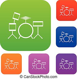 Drum kit set collection - Drum kit set icon in different...