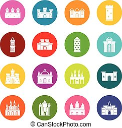 Towers and castles icons many colors set isolated on white...