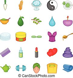 Ointment icons set, cartoon style - Ointment icons set....