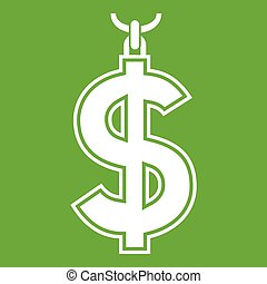 Necklace of dollar symbol icon green