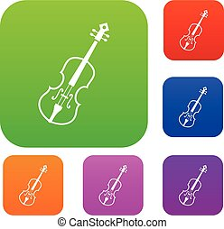 Cello set collection - Cello set icon in different colors...