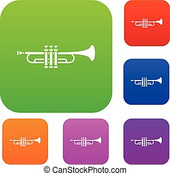 Brass trumpet set collection - Brass trumpet set icon in...