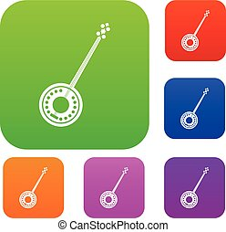 Banjo set collection - Banjo set icon in different colors...