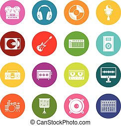 Recording studio items icons many colors set isolated on...
