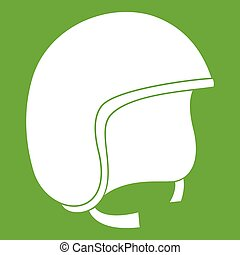 Safety helmet icon green - Safety helmet icon white isolated...
