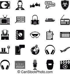Loud music icons set, simple style - Loud music icons set....
