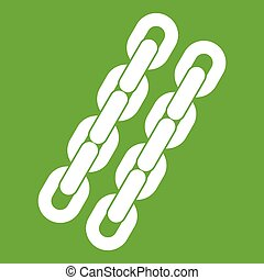 Chains icon green - Chains icon white isolated on green...