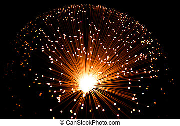 Golden fibre optic strands. - Overhead view capturing a...