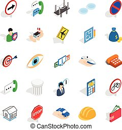 Assist icons set, isometric style - Assist icons set....