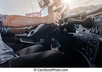 Semi Truck Driving Job. Caucasian Men Behind Semi Truck...