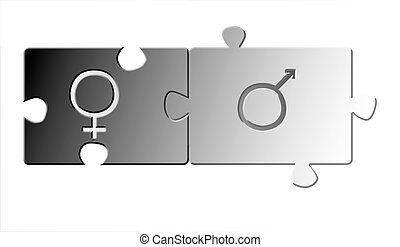 yin yan - jigsaw puzzle parts with gender signs