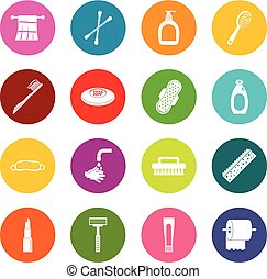 Hygiene tools icons many colors set