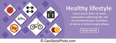 Healthy lifestyle banner horizontal concept