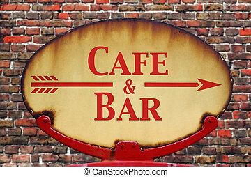 retro, sinal, café, barzinhos