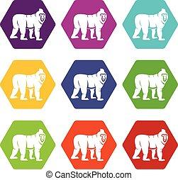 Mandrill monkey icon set color hexahedron - Mandrill monkey...