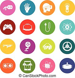 Virtual reality icons many colors set isolated on white for...
