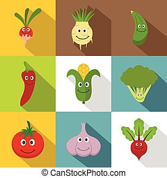Vegetables for kid icons set, flat style - Vegetables for...