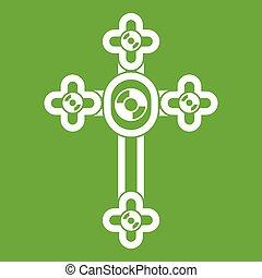 Cross with diamonds icon green