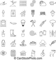 Earth icons set, outline style - Earth icons set. Outline...