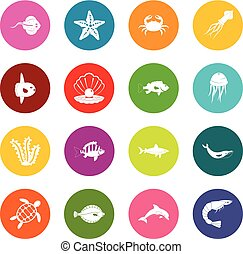 Sea animals icons many colors set