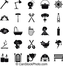 Dry icons set, simple style - Dry icons set. Simple set of...