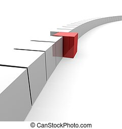 one red cube emerging from a common chain of white cubes. 3D...