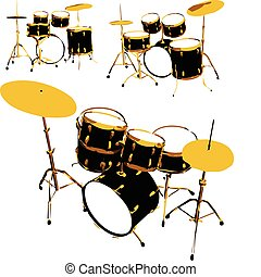 vector set of drums - set of drums made in vector