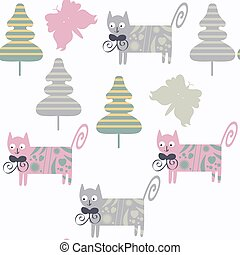 Funny colorful cats seamless pattern. It is located in swatch menu, vector image. Cute background