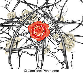 red rose and black thorns - 3d illustration, red rose and...