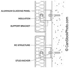 Insulated Cladding Panels - Generic line diagram of a cross...