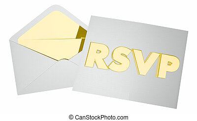 RSVP Invitation Envelope Event Attendance Reservation 3d...