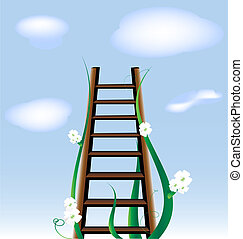 stairway to heaven - against the blue sky and clouds - a...