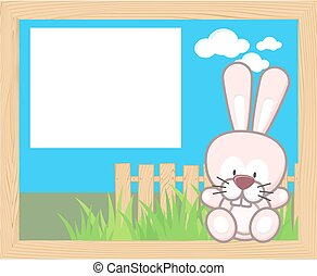 baby rabbit frame - wood frame with cute baby rabbit and...