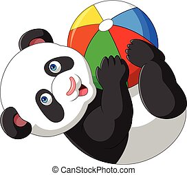 Cartoon baby panda playing with colorful ball - Vector...