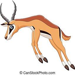 Cartoon antelope jumping - Vector illustration of Cartoon...