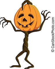 Cartoon Halloween pumpkin - Vector illustration of Cartoon...