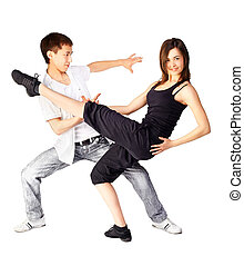 hustle dancers - isolated portrait of asian guy and european...