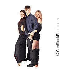three hustle dancers - isolated portrait of three hustle...