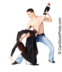 hustle dancers - isolated portrait of guy with bare torso...